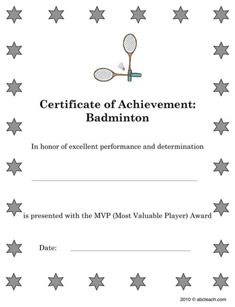 download badminton sports certificates for free formtemplate