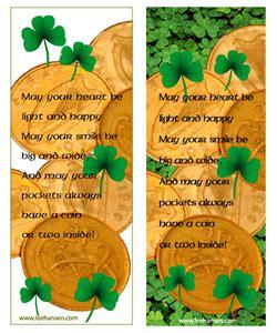 printable good luck bookmarks printable shamrocks bookmarks