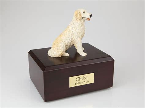 golden retriever urn golden retriever cremation figurine urn w wooden storage box