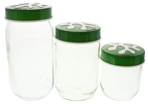 glass kitchen canister set green at mighty ape australia