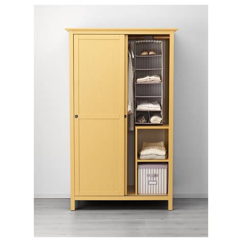 hemnes wardrobe with 2 sliding doors yellow 120x197 cm