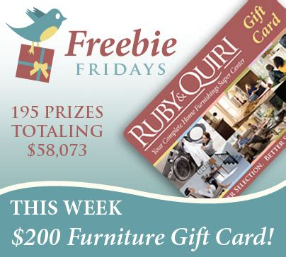 Furniture Gift Card by This Week S Freebie Fridays Giveaway Is A 200 Furniture Gift Card