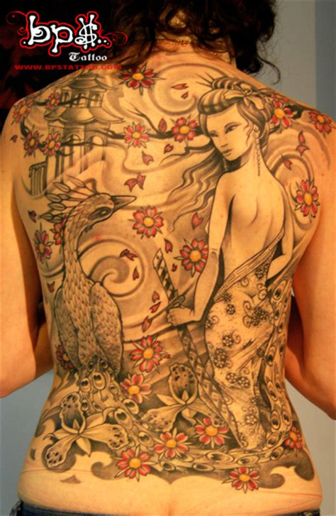 japanese tattoo art geisha geisha and peacock by bps tattoo on deviantart