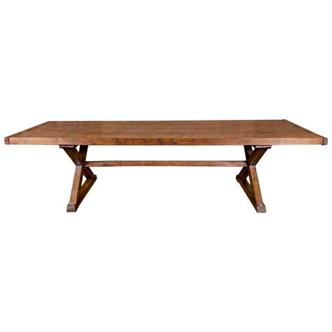 Rustic Table Base by Large Early 19th Century Rustic X Base Trestle Table At