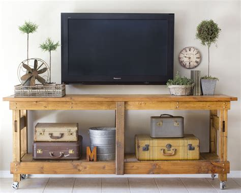 tv stand ideas cool homemade industrial tv stands with vintage suitcase