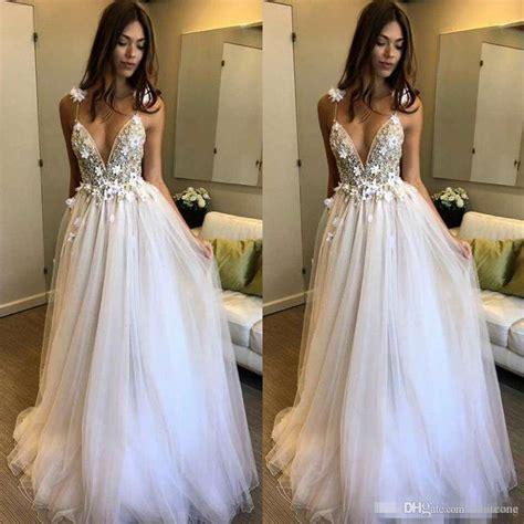 Discount Boho Beach Wedding Dresses 2017 A Line Deep V