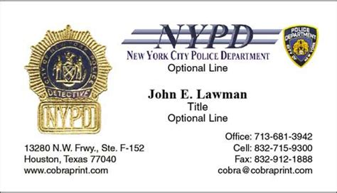 Nypd Business Card Template cobra printing productions nypd business cards