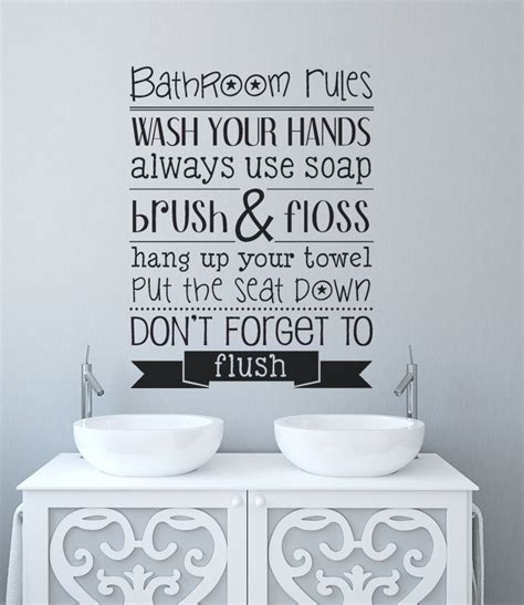 bathroom rules decal bathroom wall decor bathroom rules wall decal