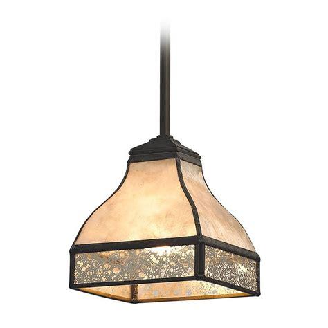 Tan Mica Mercury Glass Square Mini Pendant Light Bronze Square Pendant Lights