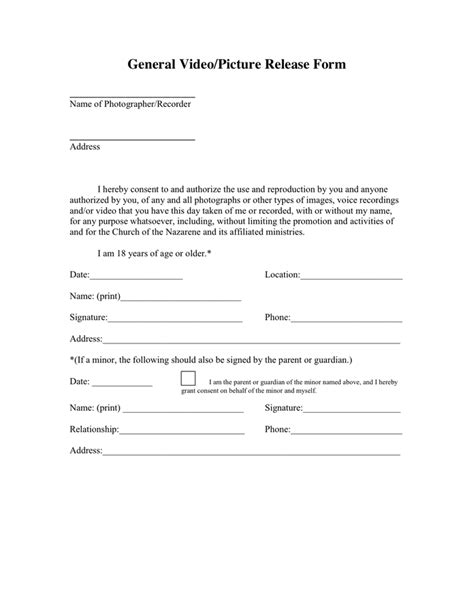 General Release Form In Word And Pdf Formats General Media Release Form Template