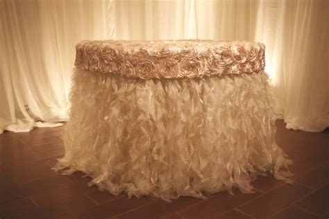 curly willow table skirt marianne s rentals curly willow sparkle organza ivory
