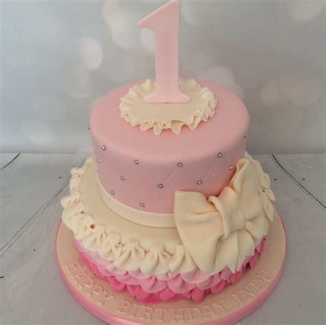 Decorator Icing 2 Tier Pink Ruffle Cake 1st Birthday