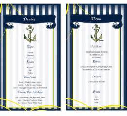 Two options for the nautical menu side by side for demonstration