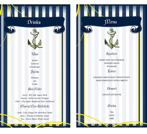 menu design lighthouse do it yourself free printable menu from our nautical