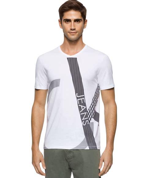 v neck textured shirt lyst calvin klein s texture play graphic print