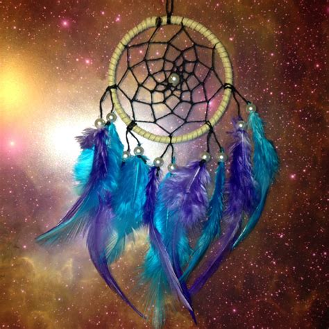 suede dream catcher with blue amp purple by dreampeacepositivity