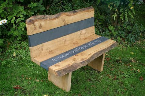 oak garden benches oak and slate garden bench martin cook studio
