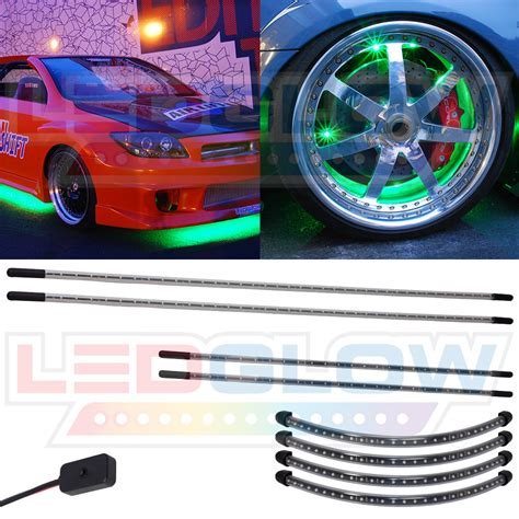 Underbody Lights by Ledglow 4pc Green Led Slimline Underbody Kit W Wheel Well Fender Lights Kit Ebay