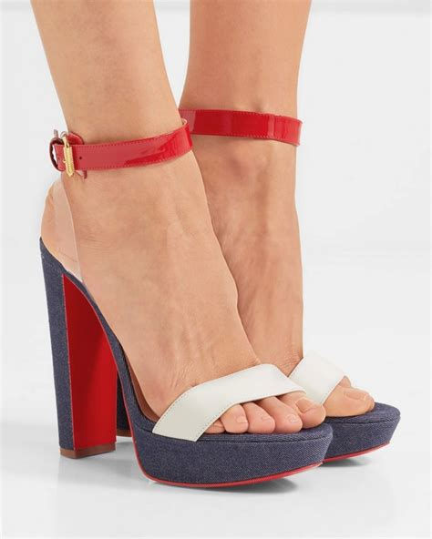 Sandal Heels Fyi04 1 christian louboutin cherry pvc patent and smooth leather trimmed denim sandals shoes post