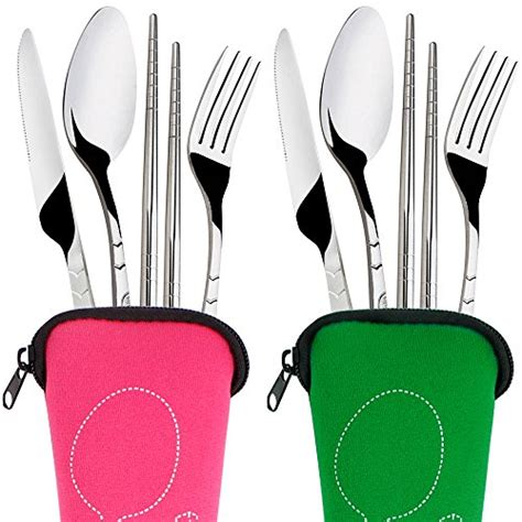 Terlaris Spon Sport Abu Pink Termurah 8 pieces flatware sets knife fork spoon chopsticks senhai 2 pack rustproof stainless steel