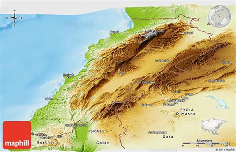 physical map of lebanon physical panoramic map of lebanon