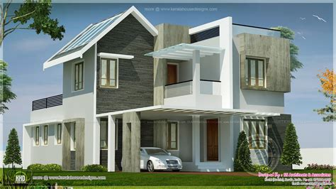 double floor modern style home design 2015 beautiful double storey villa feet kerala home design
