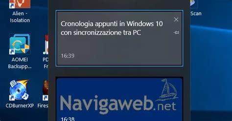 cronologia appunti  windows   sincronizzazione tra
