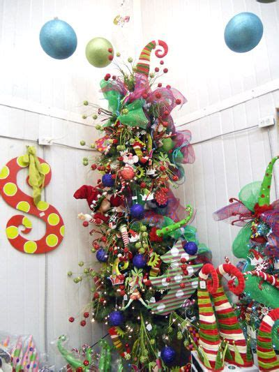 mesh christmas tree with ornaments dr su grinch ish whoville seuss tree ideas trees