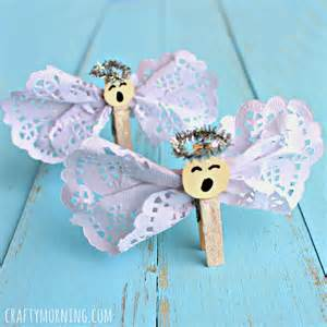 clothespin angel craft using doilies crafty morning