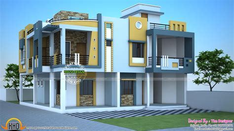 Indian Modern House Plans Modern Duplex House In India Kerala Home Design And Floor Plans