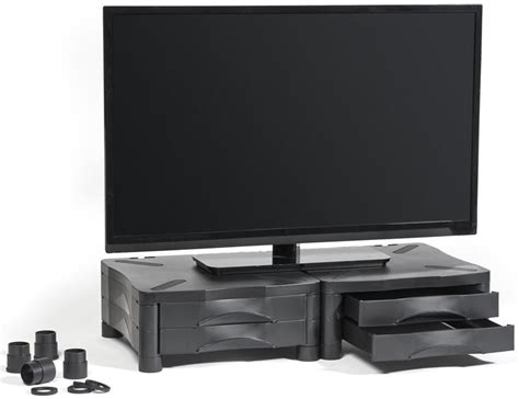 dual monitor riser with drawer height adjustable monitor stand dual drawer