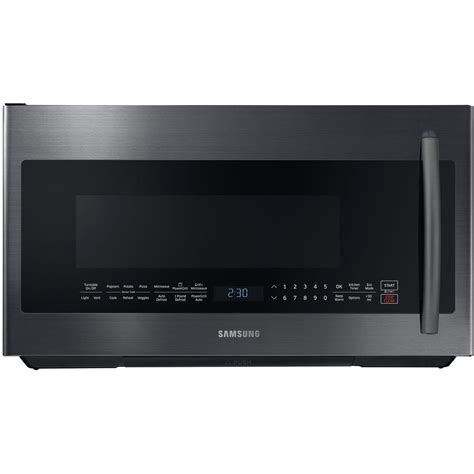 Samsung The Range Microwave Samsung 2 1 Cu Ft The Range Powergrill Microwave With Sensor Cook In Fingerprint