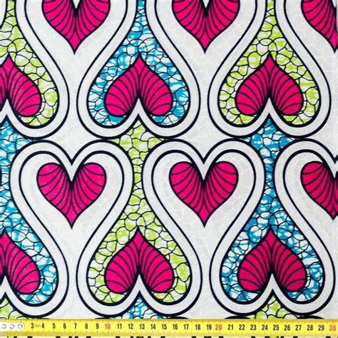 wax tissu africain motif coeur blanc bleu pas cher