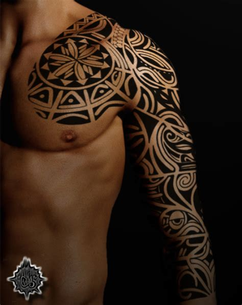 tribal chest to arm tattoo tribal images designs