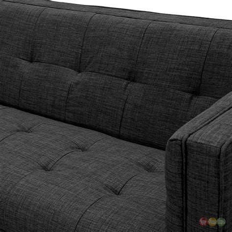 retro black tufted sofa kaja retro grey fabric button tufted sofa with black