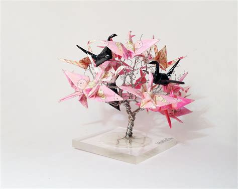Origami For Decorations - origami crane tree wire tree sculpture japanese