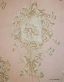 Curtain Fabric With Bird Print Toile Cherub Pink Angel Print Taupe Ivory Pale Pink Heavy