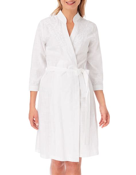 white cotton embroidered robe oscar de la renta embroidered cotton robe in white lyst