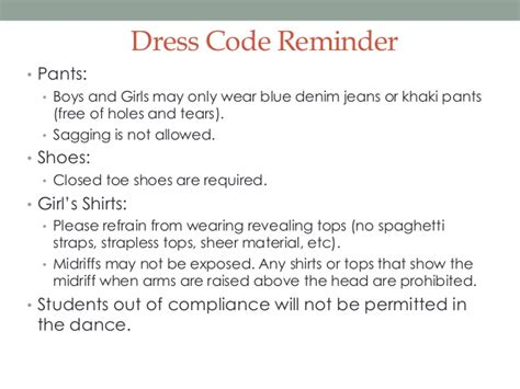 Dress Code Reminder Email Template Freshman Dance Dress Code Welcome To The Jungle