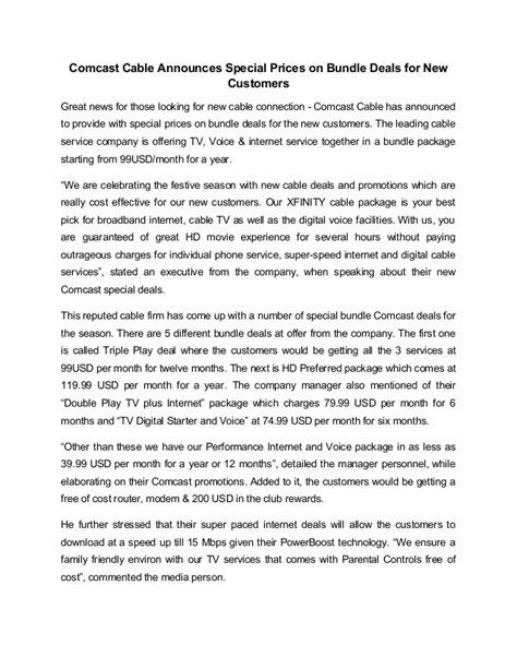 comcast cable announces special prices  bundle deals