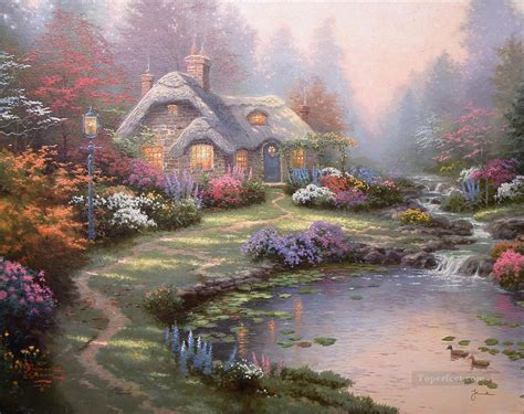 cottage paintings by kinkade everett cottage kinkade painting in for sale