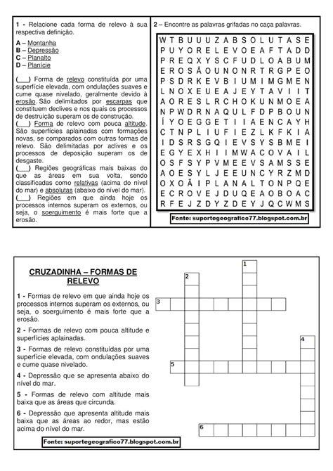 CRUZADINHA E CAÇA PALAVRAS - FORMAS DE RELEVO   Suporte