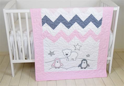 Handmade Crib Quilts by Penguin Crib Quilt Pink Gray Handmade Crib Quilt For Baby