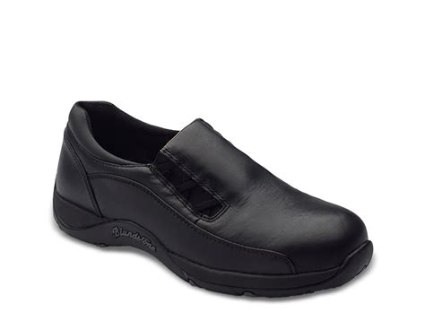 s black grain leather slip on work and safety