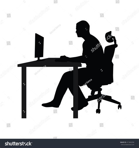 chair side view vector businessman sitting on office chair table stock vector
