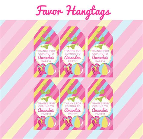 printable labels party favors pool birthday party favor tags printable kids pool