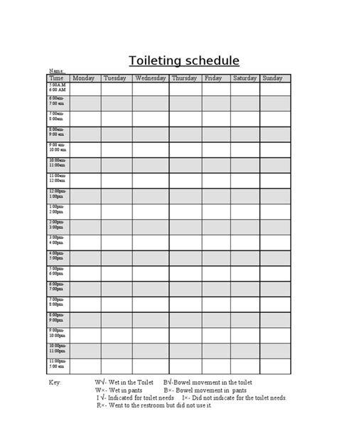 bathroom chart toileting schedule chart