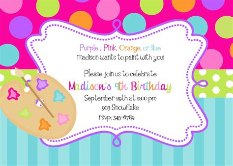 free printable art birthday invitations art painting birthday party invitations art by noteablechic