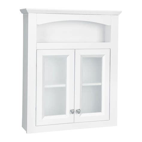 White Glass Bathroom Cabinet Glacier Bay Modular 24 3 5 In W X 29 In H X 6 9 10 In D