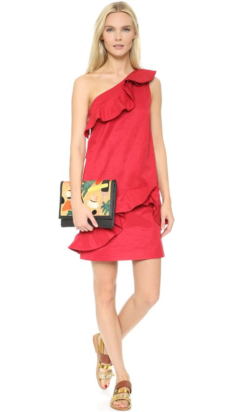 Msgm Dress lyst msgm one shoulder ruffle dress in